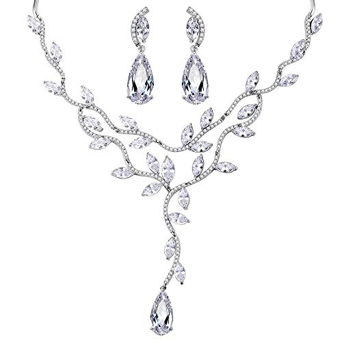 (Lavencious Tear Drop Bridal Filigree Rattan and Leaf Rhodium Plated with AAA CZ Cubic Zirconia Necklace & Earrings Jewelry Set (Silver))