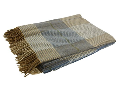"ow Blanket 100% Wool 54"" x 71"" Blue & Beige Made in Ireland ()"
