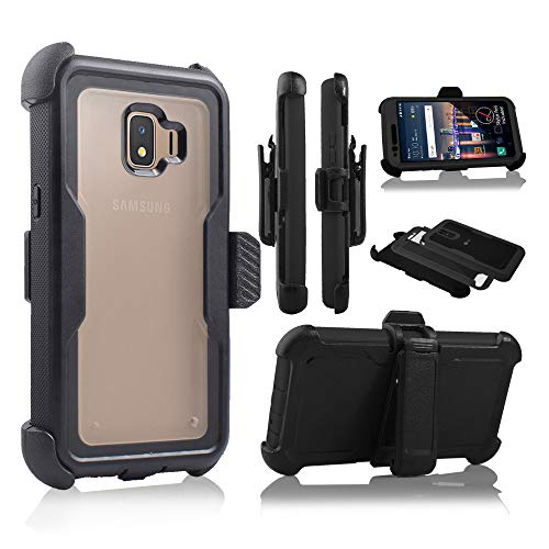 Compatible for Galaxy J2 core Case,Galaxy J2 Dash/J2 Pure/J260 Case Full Body Protection Defender Clear Case [Built in Screen] Holster Kickstand Cover (Black)