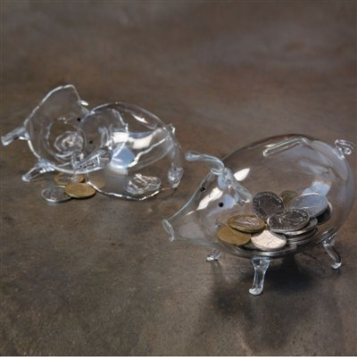 Glass Piggy Bank - Clear by HomArt