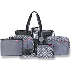 Baby Boom Pack Right 12 Piece Diaper Bag – Large Utility Tote Organizer for Travel and Daycare - Kit Includes Diaper Changing Pad, Pacifier Case, Baby Laundry Bags, Insulated Bags, Bib Pouch, and more