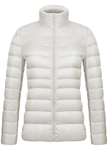 (QZUnique Women's Light Weight Packable Short Down Jacket Outwear Puffer Coats White Large)
