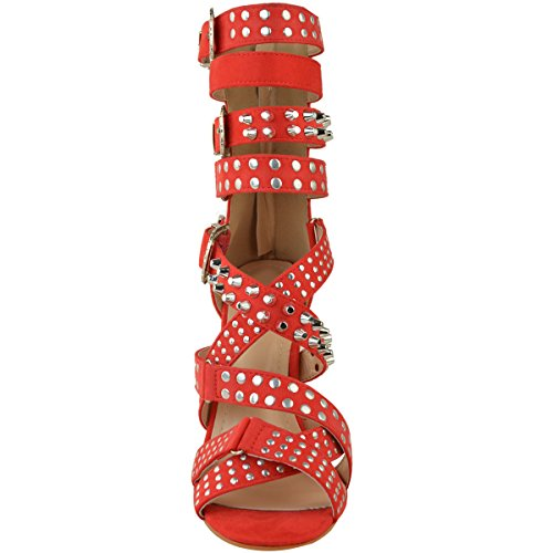 Heelberry® Womens Ladies Studded Stilettos High Heels Sandals Strappy Rock Party Punk Size Coral Orange / Red Faux Suede x4uE66