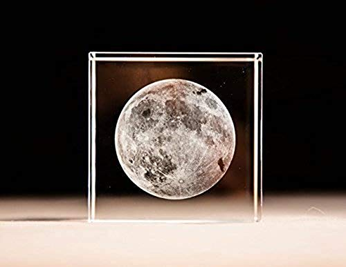 better us 3D Moon Paperweight(Laser Etched) in Crystal Glass Cube Birthday (No Included LED -