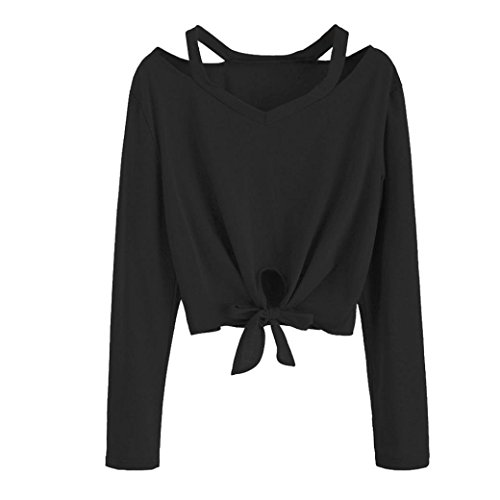 - Crop Tops, Balakie Girls Front Tie Bow Long Sleeve Hollow Out V-Neck Casual T-Shirt Blouse (Black, L)