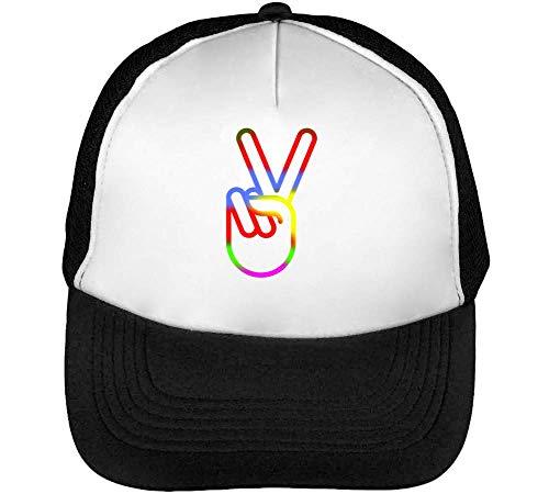 Blanco Colourful Beisbol Hombre Peace Negro Snapback Gorras Sign aqn6Pa0