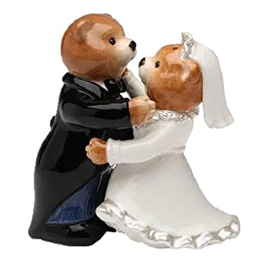 Teddy Bear Bride in Wedding Robe and Groom Salt and Pepper Shakers
