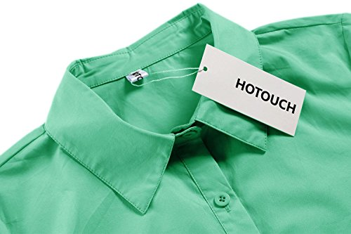 Hotouch Womens Long Sleeve Button Down Shirt with Stretch (Green M) by Hotouch (Image #4)