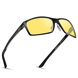 SOXICK Metal Frame HD Night Vision Driving Glasses Adjustable Polarized Driver Sunglasses for Men Womens