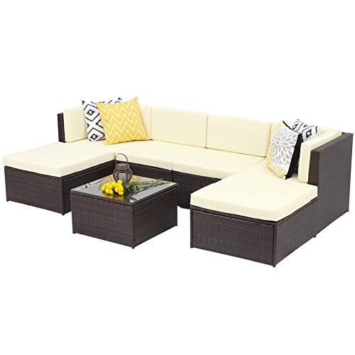 7 Piece Outdoor Patio Furniture Set, Wisteria Lane Garden Rattan Wicker Sofa Conversation Sets,Brown