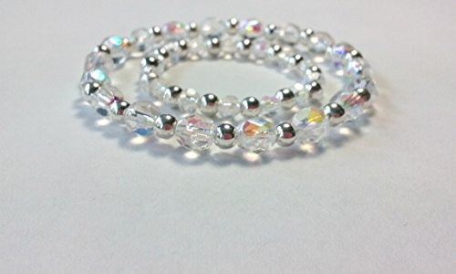 Mother Daughter Matching Stretch Bracelets, Mother Baby Bracelets Crystals and Sterling Silver - Crystal Bracelets Sterling Baby
