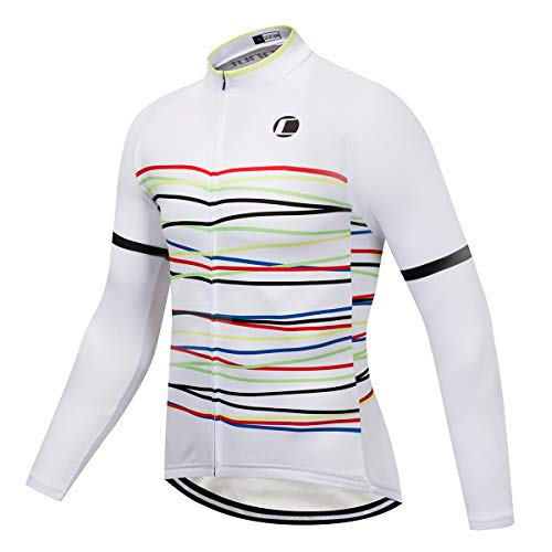 Coconut Ropamo Men's Long Sleeve Cycling Jersey, Bike Biking Shirt, Bicycle Tops, MTB Shirts (White/Curve, M) (Best Thermal Cycling Tops)