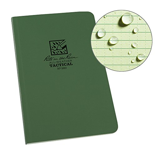 "Rite In The Rain Weatherproof Tactical Field Notebook, 4 5/8"" x 7"", Green Cover, Universal Pattern with Reference Materials (No. 980)"