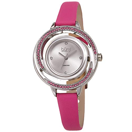 Burgi Colored Swarovski Crystals Women's Watch - Slim Genuine Leather Strap - Three Hand Movement with 4 Diamond Markers - Floating Enamel Dial - Round Analog Quartz - BUR261 - Floating Diamonds Pink Watch