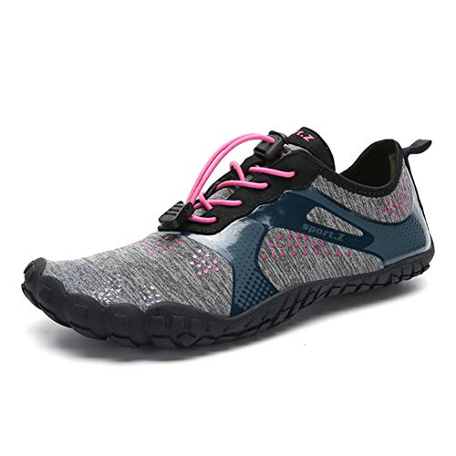 VAZILLIO Mens Womens Water Shoes, Quick-Dry Lightweight Barefoot Wide Feet Toe Solid Drainage Sole Aqua Sock for Kayaking, Boating, Hiking, Surfing, Swiming, Diving, Beach Walking, Yoga,6.5 M US Men/8M US Women,Gray Pink