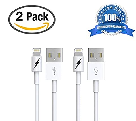 (2 Pack) Certified iPhone 5 & 6 Charging Cable Lightning Cord - Authentication Chip Ensures Fastest Charge and Sync For All Latest iPads iPods & IOS Devices (2 x 1 Meter/3.3 (Apple Phone Charging Cable)