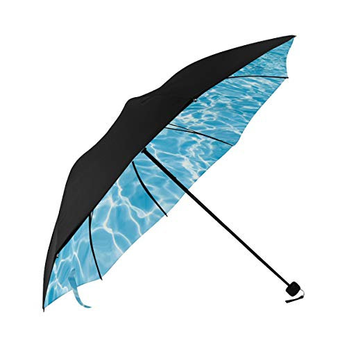 Rain Parasol Umbrella Blue Summer Cool Swimming Pool Under Water Underside Printing Amg Compact Umbrella Amg Compact Umbrella Auto Umbrella Compact With 95% Uv Protection For Women Men Lady Girl