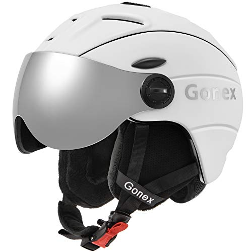 Gonex Ski Helmet with Detachable Goggles, Shockproof Winter Snow Snowboard Skiing Helmet for Men, Women & Youth, Size M White