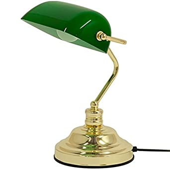 RETRO CLASSIC BANKERS LAMP TABLE DESK LIGHT POLISHED BRASS GREEN ...