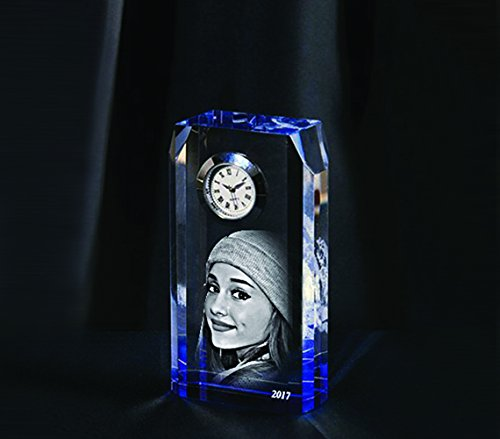- Personalised Bespoke Laser Engraved Etched Clear Optic Crystal Glass Mantel Desk Clock as a Gift, Paperweight, Ornament, Keepsake (5,5cm x 10cm x 2,8cm)