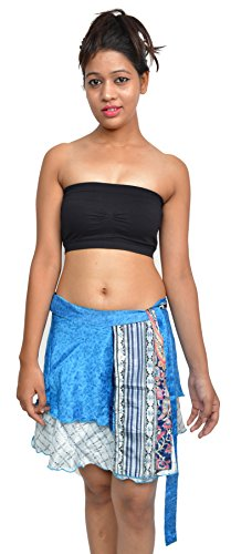 Wevez Women's Beachwear Crepe Sari Skirt, Mini, Assorted