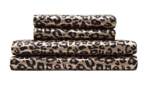TORREY LANE 100% Luxury Satin Polyester Sheet Set, Leopard Print, Queen