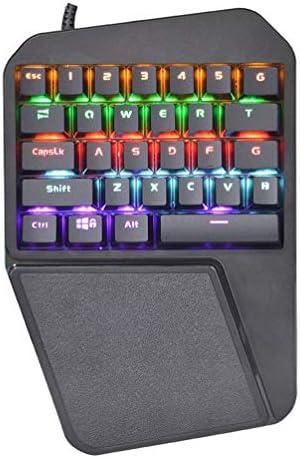 Mini 29キーハーフキーボードゲーミングキーパッド片手メカニカルゲーミングキーボード、PUBG/FPSゲーム/LOL/APEX/CSGO/Rainbow Six用の小型ゲーミングキーボード ポータブル, Black