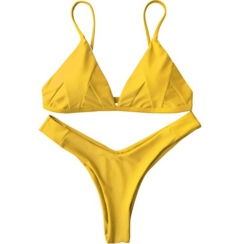 Women Swimsuit Bikini Calico Flounce Halter Top with Ruched High Waist Bra Sets (Small) (Yellow, S)