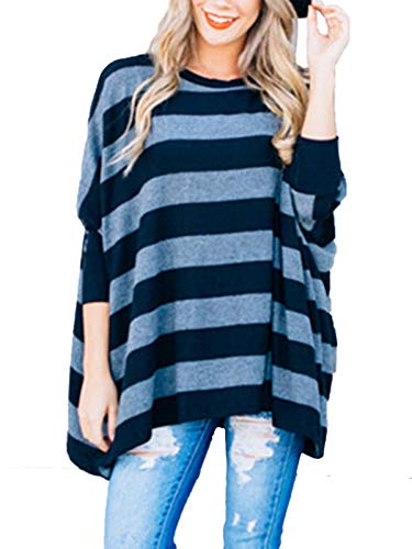 - MISSLOOK Women's Striped Tops Long Sleeve Shirts Casual Loose Batwing Tunics Blouse - Grey-Blue Free-Size