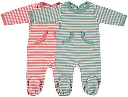 Petit Oh! - Pack de 2 Pijamas Manga Larga para bebé 100% algodón Pima Talla 9-12 Meses Color Raya roja y Raya Verde: Amazon.es: Ropa y accesorios