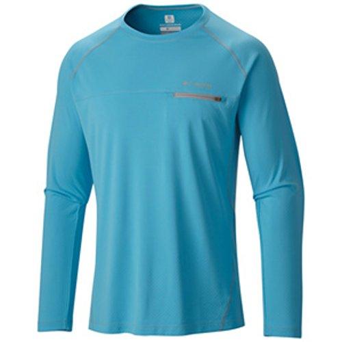 Columbia Men's Cool Catch Tech ZERO Zipper L/S T-Shirt (Medium, Bounty Blue)
