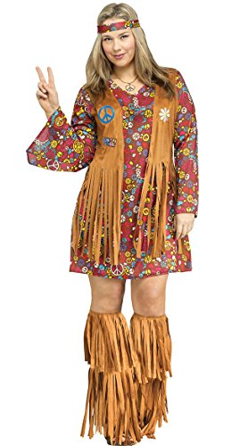Fun World Women's Plsz Peace & Love Hippie Cstm, Multi, Plus Size