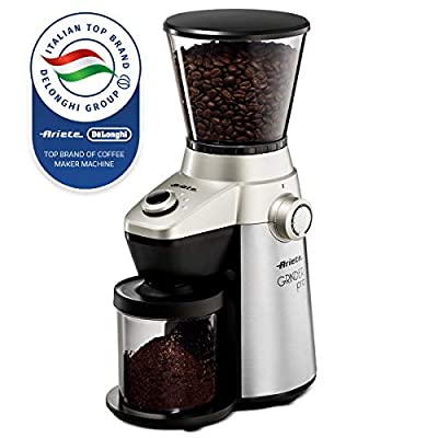 Ariete -Delonghi Electric Coffee Grinder - Professional Heavy Duty Stainless Steel, Conical Burr - Ultra Fine Grind, Adjustable Cup Size, 15 Fine - Coarse Grind Size Settings