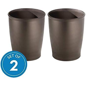 iDesign Kent Plastic Wastebasket Small Round Plastic Trash Can for Bathroom, Bedroom, Dorm, College, Office , Set of 2, Bronze