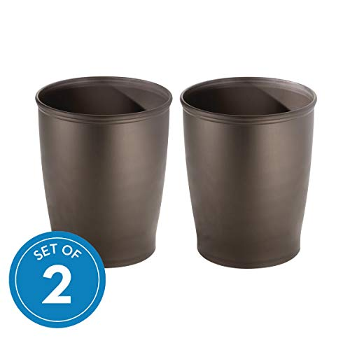 - InterDesign Kent Plastic Wastebasket Small Round Plastic Trash Can for Bathroom, Bedroom, Dorm, College, Office, Set of 2, Bronze