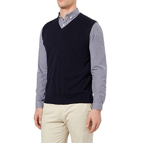 Jersey sin mangas para hombre, de punto, 100 % cachemira pura, cuello de pico, doble hilo, diseñado en Escocia verde oliva