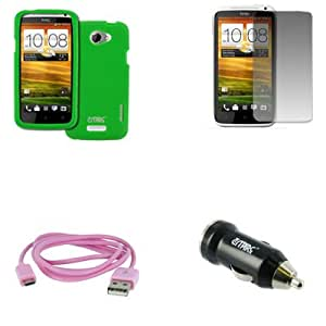 EMPIRE AT&T HTC One X Silicone Skin Case Cover (Neon Green) + USB 2.0 Data Cable (Pink) + USB Car Charger Adapter + Screen Protector [EMPIRE Packaging]