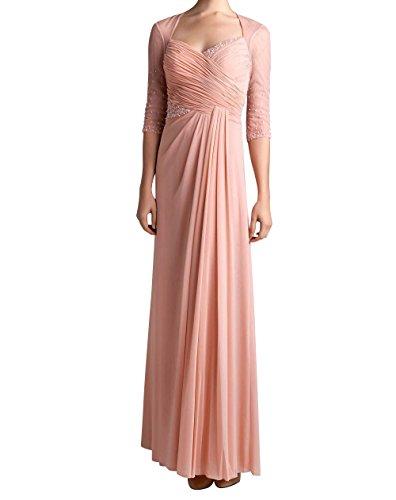 Braut La Langarm Rosa Marie Partykleider Brautmutterkleider Abendkleider Damen Chiffon Perlen mit Promkleider HrWHORF