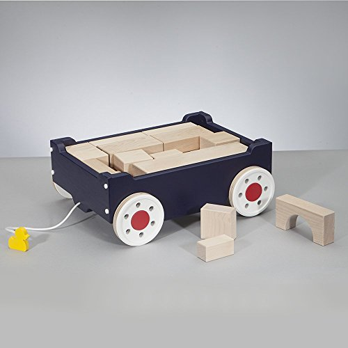 South Bend Woodworks Kids Pull Along Block Wagon - Blue (Including 31 Blocks)