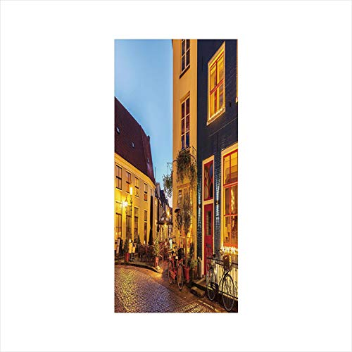 Decorative Window Film,No Glue Frosted Privacy Film,Stained Glass Door Film,Ancient Dutch Street with Houses Small Restaurants Doesburg The Netherlands,for Home & Office,23.6In. by 35.4In Yellow Red B