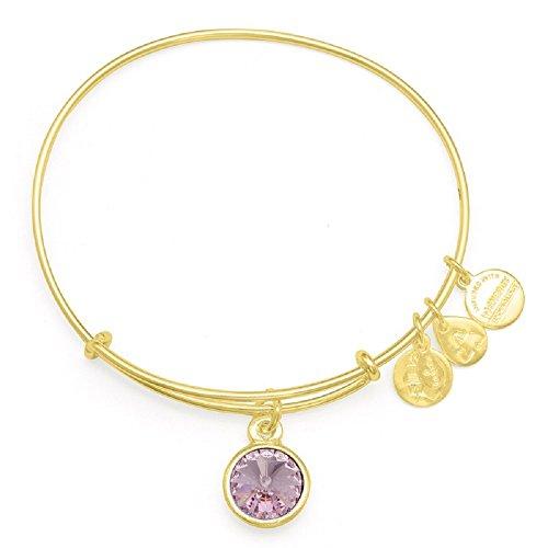 Alex and Ani June Birthstone Charm Bangle Yellow Gold Finish Bracelet, A09EB245G