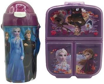 Cantimplora de Agua Infantil + Fiambrera sandwicheras con 3 Compartimentos para niñas niños, Botella plastica a Prueba de Fugas sin BPA Termo 500 ml