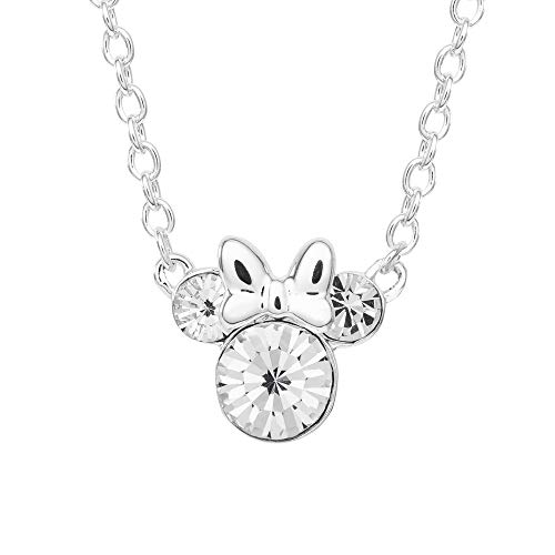 Disney Minnie Mouse Crystal Birthstone Silver Plated Pendant Necklace, April Silver Clear Crystal
