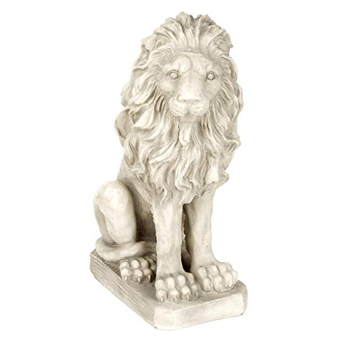 Design Toscano SH943 Mansfield Manor Lion Sentinel Statue Looking Right, 21 Inches, Antique Stone