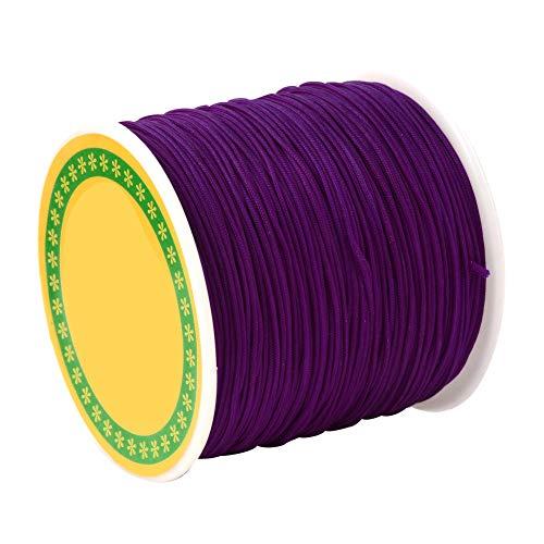 Purple Silk Cord - PH PandaHall 100 Yard 0.8mm Braided Nylon Cord Imitation Silk String Thread Lift Shade Cord for Crafting Beading Jewelry Making (Purple)