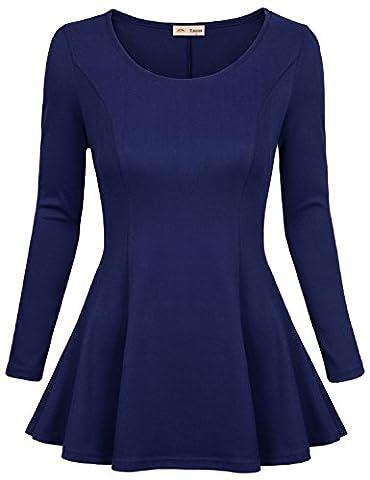 Tunic Dress,Timeson Womens Long Sleeve Round Neck Pleats Detail Basic Swing Tunic Dress Small Blue (Office Coat)