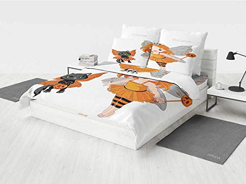 Halloween Complete Bedding Set Halloween Baby Fairy and Her Cat in Costumes Butterflies Girls Kids Room Decor Decorative Printing Four Pieces of Bedding Set Multicolor