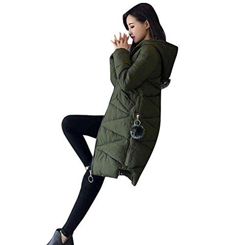 maglione maglione maglione Donne Moda Outwear imbottito a vento una Cerniera Cerniera Cerniera giacca con giacca Inverno giacca Donna di cappuccio pelo Cappotto Rcool cotone Verde Palla in era sottile Slim twESIP