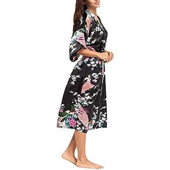 Wiwsi Women's Satin Robes Bridal Wedding Bridesmaid Bride Gown Kimono Robe Dress(Black,XL)