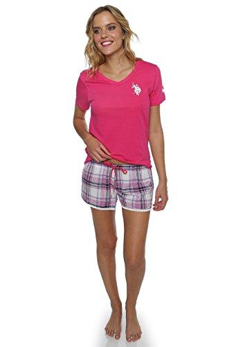 US Polo Assn. Womens 2 Piece V-Neck Short Sleeve Shirt and Short Pajama Pant Set Pink Paradise Medium (Pants Shirt Pajamas)